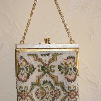 Collectible Beaded Evening Or Formal Purse Multi Colored Beaded Floral Tapestry Motif With Gold Tone Chain Handle And Snap Closure