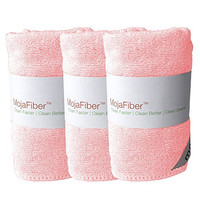 """Plush Microfiber Body/Face Cloth - Dual Action (exfoliate/cleanse): 3 Pk - 12""""x12""""- Soft Cleanse Side and Exfoliating Reverse Side - Remove Make up, Dirt, Oil & Dead Skin Cells with Just Water, Pink"""