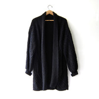 vintage long black cardigan sweater. cocoon sweater coat. pocket sweater jacket.