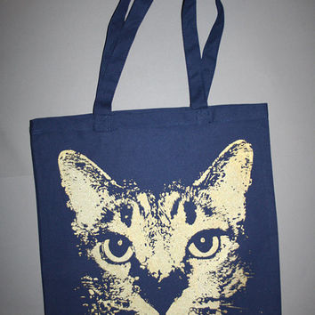 cat tote, Katze, blue cat tote bag, navy cat tote, blue tote with golden cat, boho, bohemian blue canvas tote w golden cat
