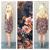 Fall Vintage Floral Off Shoulder Dress