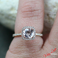 Pink Sapphire & Diamond Cushion halo ring white, yellow, rose gold-Custom made your size-Wedding-Engagement-Anniversary-Layaway 14k-18k
