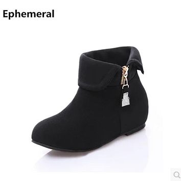 Women's Lovely Turning Over Boot Big size 11 12 Flock Crystal Fur Height Increasing Wedges Low Heels Booties Botas Women Shoes