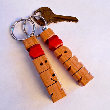 SPECIAL - 2 Name HeartFob Keychains in Cherry Wood