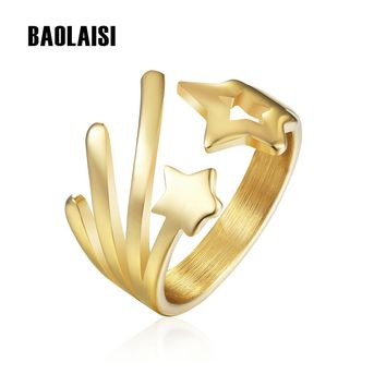BAOLAISI Cut Star Ring Crown Ring For Women Romantic Gold-Color Stainless Steel Wedding Brands Fashion Jewelry Valentine's gift