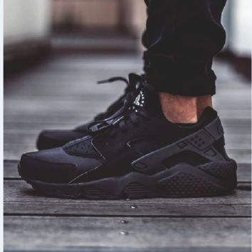 """NIKE""AIR Huarache Running Sport Casual Shoes Sneakers Black"