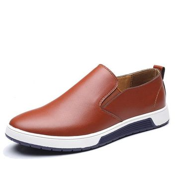 Autumn Men Leather Loafers Slip On Casual Shoes For Men's Moccasins Brand Italian Designer Shoes Leisure
