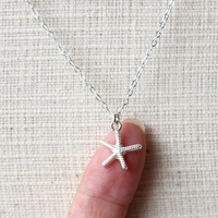 Starfish Necklace, Sterling Silver Starfish Necklace, Silver Starfish, Nautical Necklace, Beach Wedding, Beach jewelry, Gift, Bridesmaid