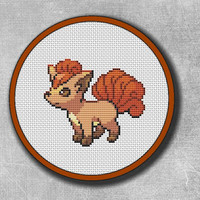 Cross Stitch Pattern Vulpix Pokemon Orange, Embroidery Pocket Monster Nintendo Game Boy Digital PDF Instant Download - Buy 2 Get 1 Free