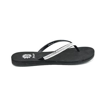 Women's Size 6 Black & Clear Crystal Rhinestone Bling Flip Flop Thong Sandal Flat Shoe Yoga Mat Sole Comfortable Stylish Cute YellowBox by Bling & Buttons
