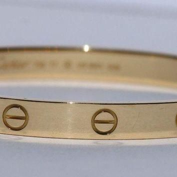 One-nice? Cartier Love Bracelet 18k Yellow Gold Bangle Size 17 Excellent Condition