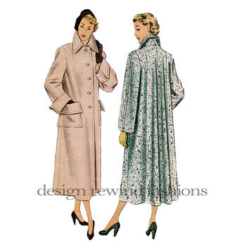 1940s SWING COAT PATTERN Tailored Lined Flared Back & Cuffs Button Coat Bust 42 McCalls 7557 Women's UnCUT Vintage Plus Size Sewing Patterns