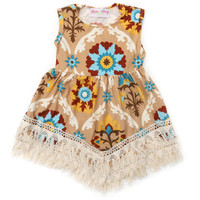 Little Girl's Brown Lace Boho Dress
