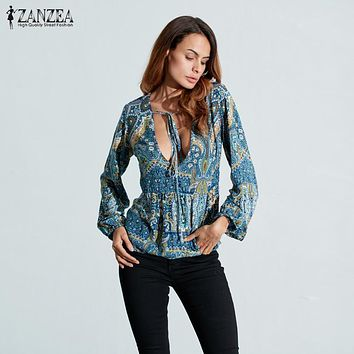 ZANZEA Women Blouses Vintage Print Blusas Shirts 2017 Spring Bohemian Long Sleeve V Neck Lace Up Loose Casual Tops Plus Size