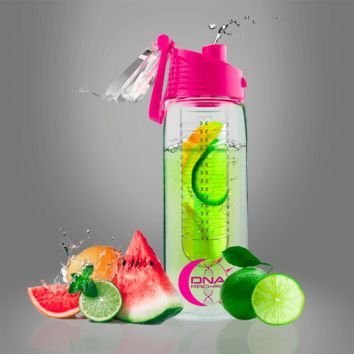 Fruit Infuser Water Bottle 24oz. (Pink)