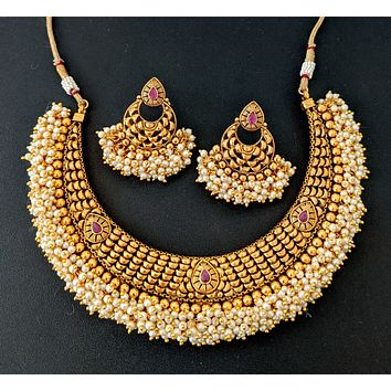Pearl cluster bead surrounded Polki stone Choker Necklace and Chandbali Earring set