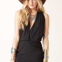 DEEP V DROP WAIST MINI DRESS