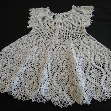 Baby Christening Dress or Flower Girl Dress Crocheted Cotton White Dress SZ 6 - 9 mos