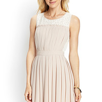 LOVE 21 Pleated Woven & Lace Dress Blush/Cream Medium