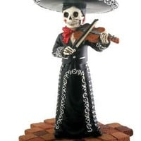 Mariachi Band Female Violin Player in Black, Day of the Dead Statue - T78100