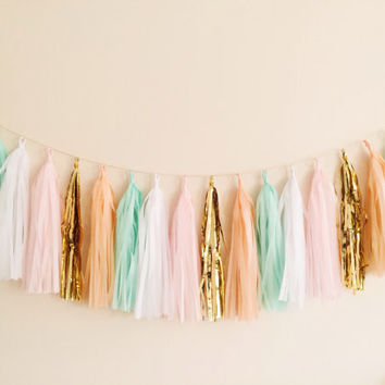 Peach, Mint and Gold Tassel Garland Banner - Party Decor, Wedding Decor, Birthday Party, Photo Backdrop, Baby Shower and Party Decoration