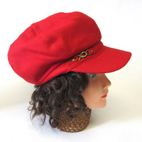 Red Newsboy Cap Twiggy Hat