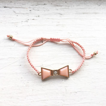 Bow Cord Bracelet - Pink