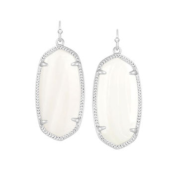 Kendra Scott Elle White Mother of Pearl Earrings Silver