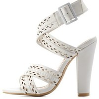 White Laser-Cut Crisscross Chunky Heels by Charlotte Russe
