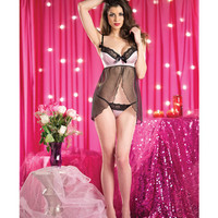 Split Front Babydoll W-lace And Bow Detail & G-string Powder Pink Lg