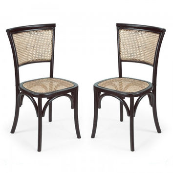 Joveco Antique Vintage Rattan Solid Elm Wood Dining Chair - Set of 2 (Black)