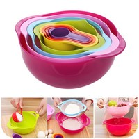 Lunch Box Multicolored Plastic Salad Bowl Measuring Cup Set Scale