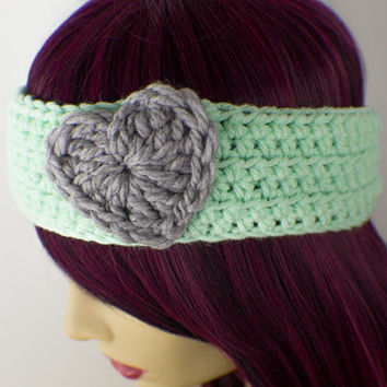 Minty Green Crochet Headband with Grey Heart