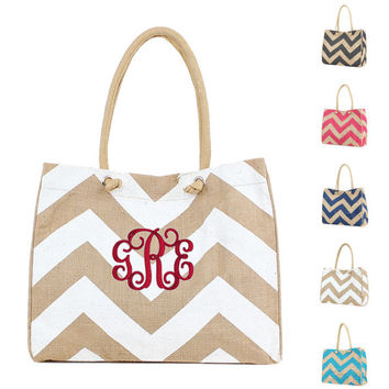 Personalized With Embroidery Chevron Print Jute Shoulder Tote In Blue, White, Grey, and Navy Monogrammed Free