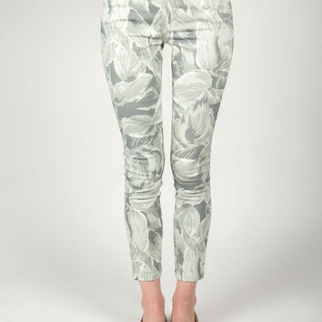 Objects Without Meaning - Hi-Rise Crop Skinny Jean in Hosta Print Greys
