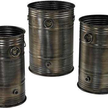 "0-029823>20""h Set of 3 Industrial Oil Drum Planters Oxidized Metal"