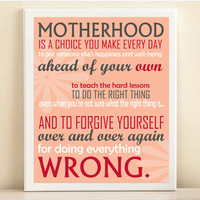 Motherhood Typography Art Print for Mothers Day or New Mom: 8x10 Inspirational Quote Poster in Coral & Red