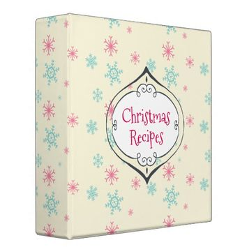 Christmas Recipes Snowflakes With Ornament Frame 3 Ring Binder