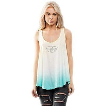 Yoga Clothing for You Womens Namaste (small print) Ombre Racerback Tank