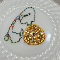 India Necklace Mosiac Glass Pendant With Colorful Seed Bead Chain Vintage Collectible Gift Item 2402