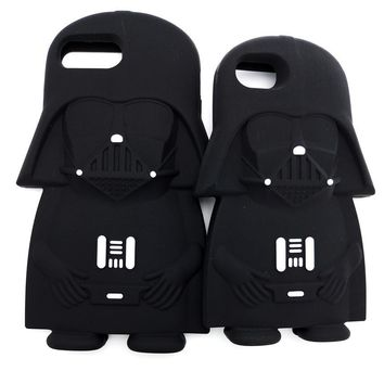 Star Wars Force Episode 1 2 3 4 5 Hot 3D  Black Darth Vader Cartoon Silicone Phone Cases Cover For iPhone 8 7 7Plus 4 4S 5 5G 5S 6 6G 6S 6Plus Back Cover AT_72_6