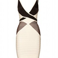 mytheresa.com - Hervé Léger - COLOR-BLOCK BANDAGE DRESS - Luxury Fashion for Women / Designer clothing, shoes, bags