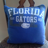 Florida Gators Decorative House Pillow- 14 in. x 14 in. (34 cm x 34 cm) Upcycled Tshirt