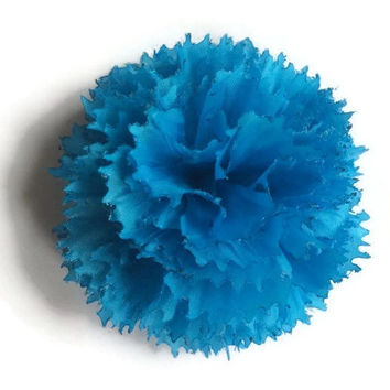 Handmade Bright Sky Blue Fabric Carnation Flower Lapel Pin Boutonniere Corsage. Tweed ride wedding groom real gentlemen must have!
