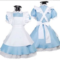 DCCKHY9 Halloween Maid Costumes Womens Adult Alice in Wonderland Costume Suit Maids Lolita Fancy Dress Cosplay Costume for Women Girl