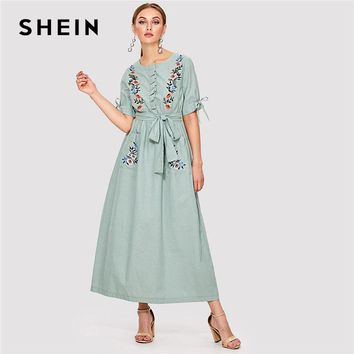 SHEIN Floral Embroidered Pocket Hijab Dress Green Round Neck Short Sleeve Women Casual Maxi Dress 2018 Spring Elegant Long Dress