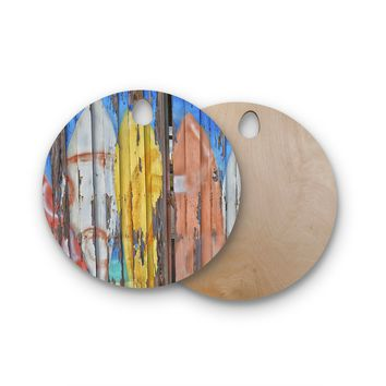 """Susan Sanders """"Surfboard Painted Fence"""" Blue White Photography Round Wooden Cutting Board"""