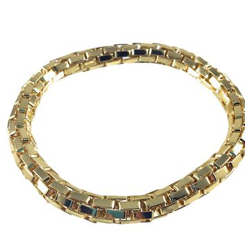 12K Gold Filled Mesh Chain Stretch Bracelet (Gold 6mm Box Links)