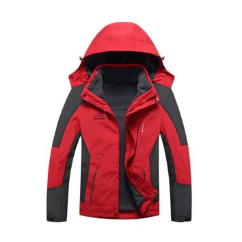 M-4XL Unisex Inner Fleece Waterproof Hooded Jacket Outdoor Sport Warm Coat Jackets with Detachable Inner As Sweater Warm Pockets