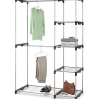 Double Rod Closet Organizer Storage Hanger Shelves Wardrobe Clothes Garment